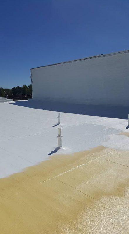 Flat Roof Repair With Spray Foam And Elastomeric Coating
