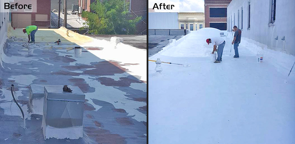 Before and After images of the flat roof on Truyo in Downtown Kirksville, MO